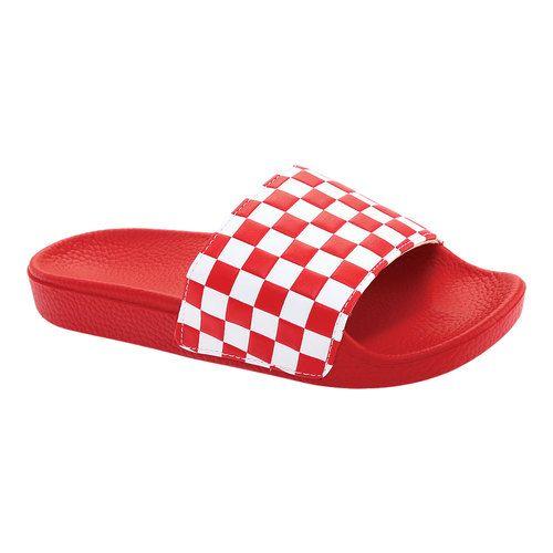 vans checkerboard slides red