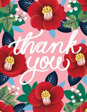 Tsubaki Camellia Thank You Card
