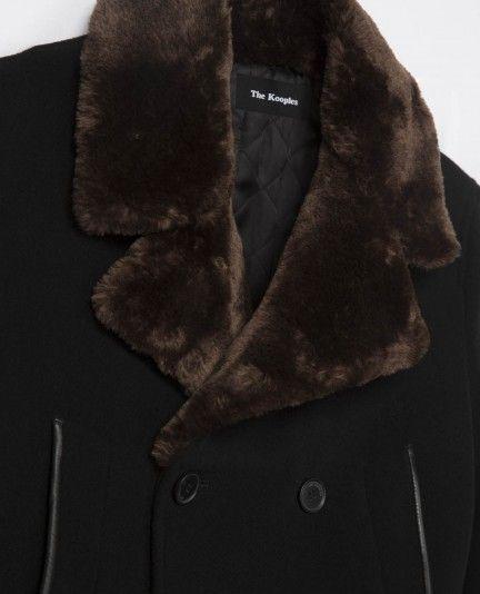 Manteau militaire croisé à col façon fourrure et détails cuir - THE KOOPLES…