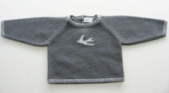 Pull tricot gris foncé Jacadi 6 mois garçons