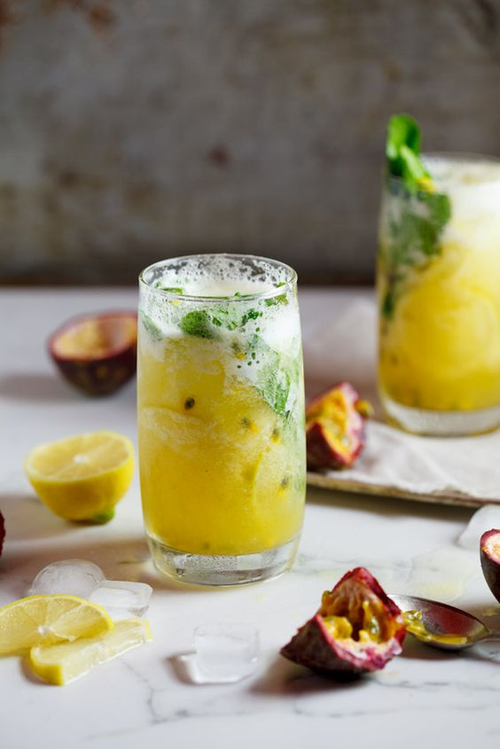 This fresh pineapple and passion fruit mojito is great for parties. Add plenty of fresh mint, lemon and ice for the perfect refreshing summer drink.