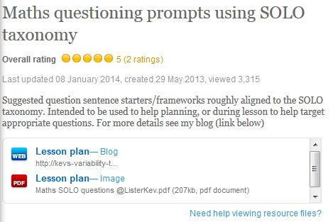 Maths questioning prompts using SOLO taxonomy