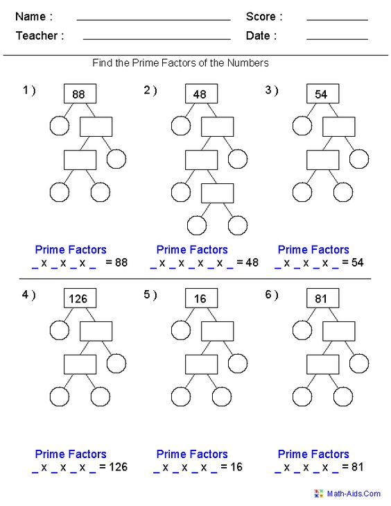 Prime Factorization Trees Factors Worksheets- Use for homework or ...