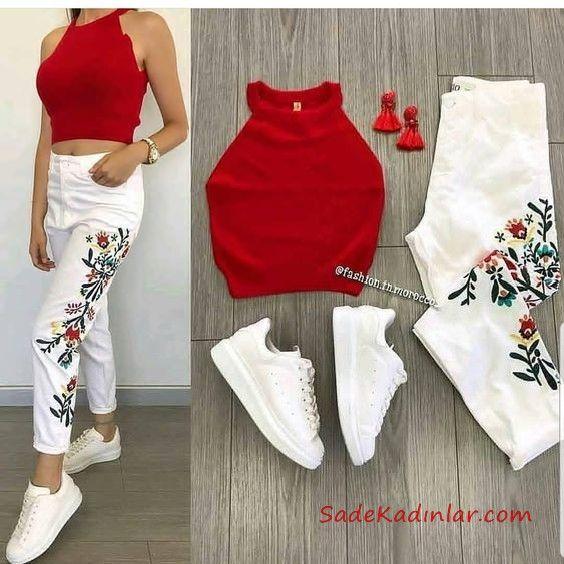 2019 Spor Ayakkabi Kombinleri Beyaz Yuksel Bel Nakisli Pantolon Kirmizi Halter Yaka Kisa Bluz Beyaz Spor Ayakkabi Trend Elbiseler Sevimli Kiyafetler Moda