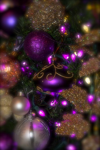 Xmas decorations royal purple gold tree christmas