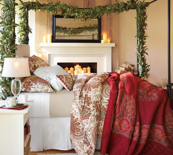 Christmas garlands fireplaces and christmas bedroom on pinterest - Pottery barn holiday bedding ...