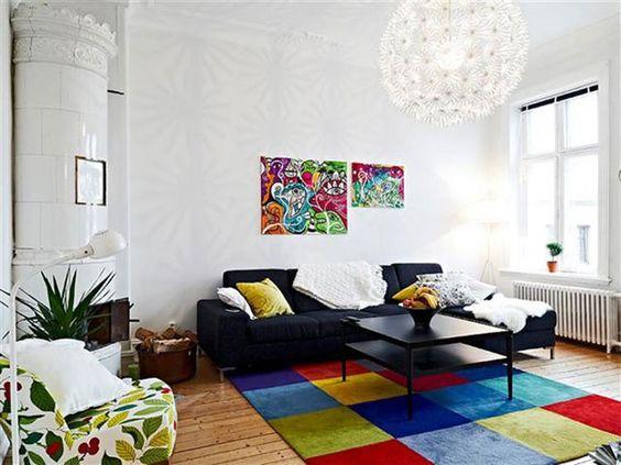 Tappeti colorati con ampi quadrati