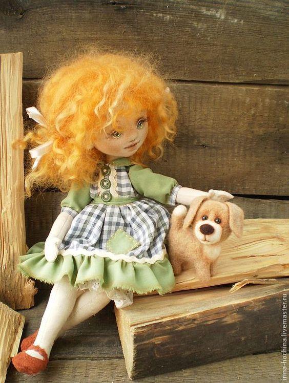 """Купить """"Мой храбрый защитник!"""" Текстильная авторская кукла - оранжевый, кукла, кукла ручной работы"""