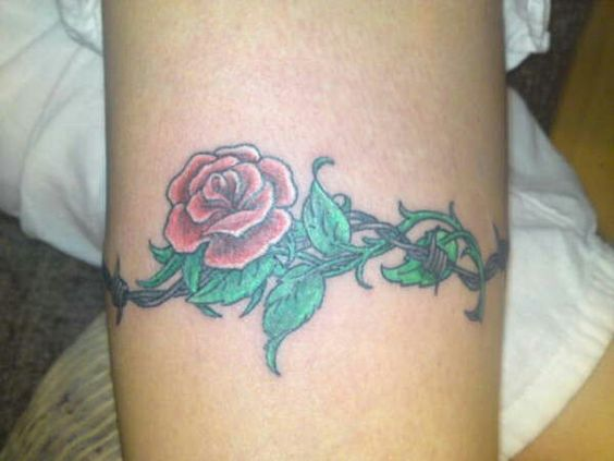 Barbed Wire Rose Tattoo: Barbed Wire With Rose Tattoo