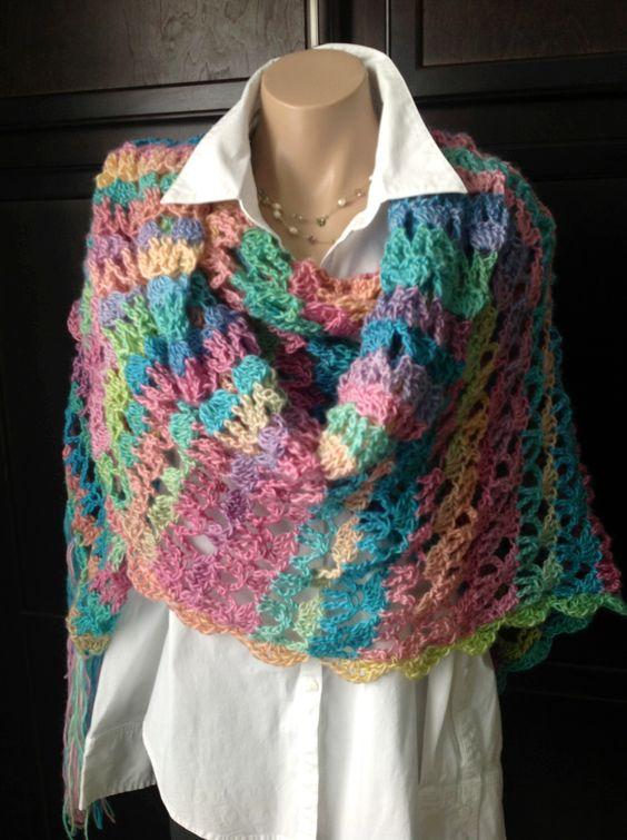 Crochet wrap shawl  long with fringe