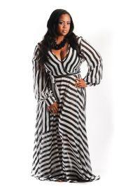 New Plus Size Black and White Stripe Chiffon Gown 1x 2x 3x - Big ...