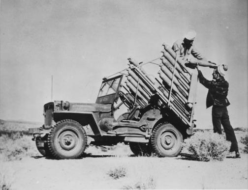 Experimental rocket firing jeep, US Navy Naval                   Air Facility, Inyokern, CA, 26 January 1945.