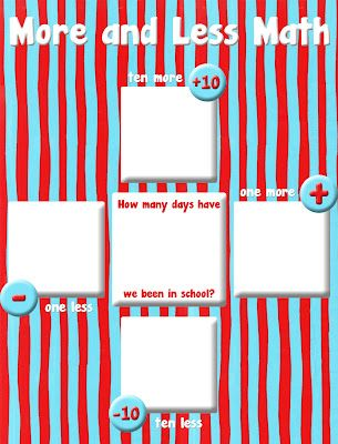 a freebie to go over one more, one less, ten more, and ten less.  you can easily incorporate it with your daily routines!  scroll to the bottom of the page to download it for free.  while you're there, you can also check out a complete cat in the hat classroom decoration set that goes along with it!