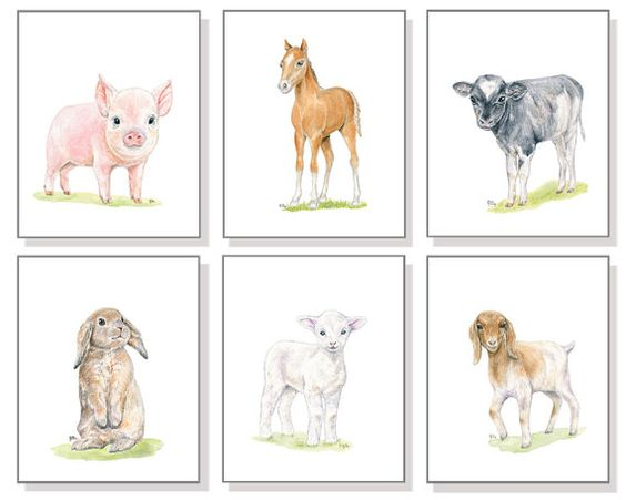 Farm Animal Fine Art Print Set created from Our Original Watercolor Paintings: Pig, Cow, Horse, Goat, Lamb, and Bunny. Perfect for any age
