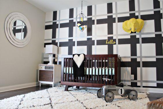 Plaid Wall in a Modern Nursery - so fab!