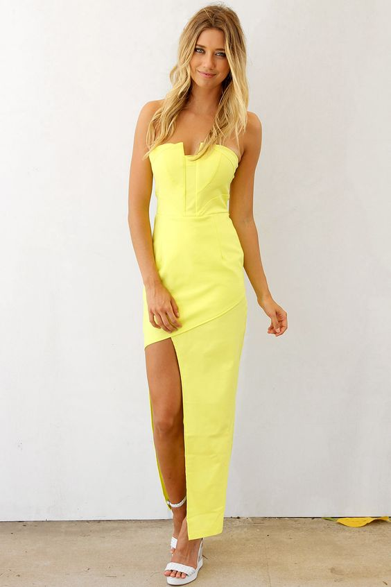 yellow strapless dress - Dress Yp