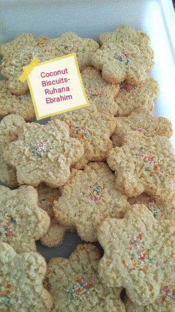 Coconut Biscuits Recipe By Ruhana Ebrahim Recipe Coconut Biscuits Biscuit Recipe Eid Biscuit Recipes