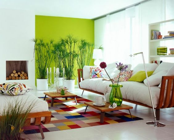 wandfarbe grün wandgestaltung wohnzimmer farbideen ...