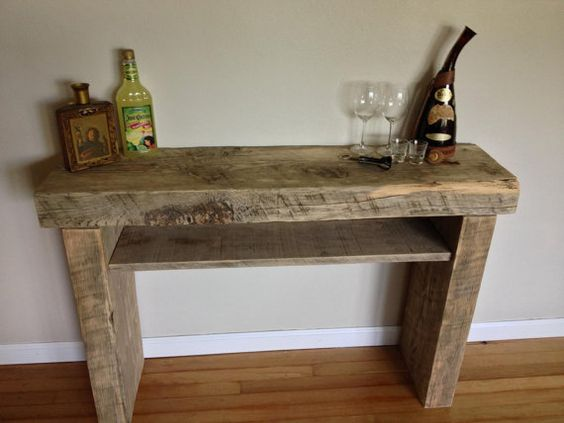 Reclaimed Solid Wood Hall Table Kitchen Table Cocktail Station Table On Etsy
