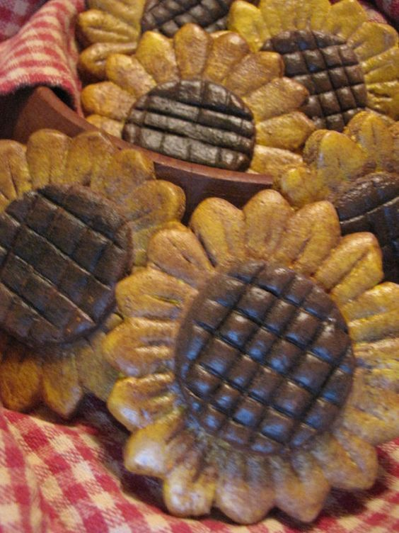 Sunflowers Salt Dough Bowl Fillers set of 6 by etsygoin on Etsy, $12.00:
