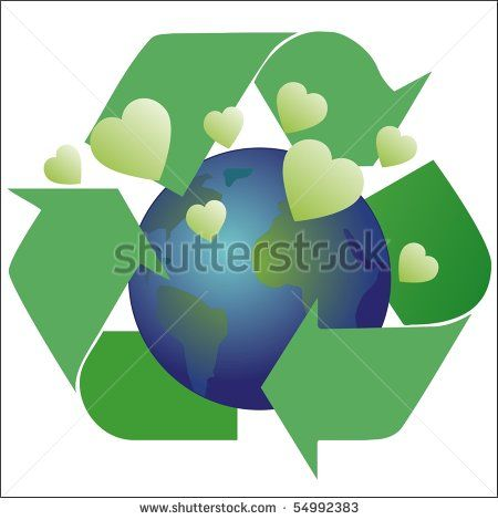 Recycling symbol with earth and hearts - stock photo