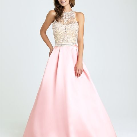 Style: 16-397 - With a watercolor palette, sparkling bodice and satin skirt, this A-line gown is perfectly feminine.