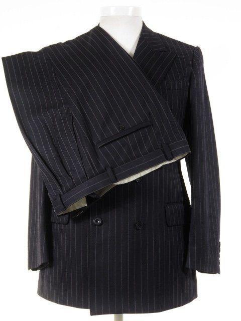 Daks London Vintage Suit Double Breasted Navy Rope Stripe Wool 38r 34w Tweedmans Vintage Clothing Men Vintage Suits Vintage Mens Fashion