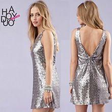 Terug Diepe V-hals Jurk 2016 Nieuwe Zilveren Pailletten Jurk Vrouwen Haoduoyi Sexy Feestjurk Mode Luxe Mini Club Jurk Vestidos(China (Mainland))
