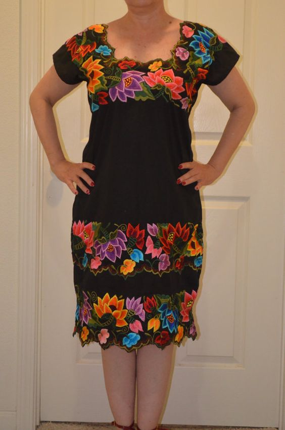 Mexican Embroidered Dress / Huipil /  from Yucatan by Vtgantiques, $180.00: