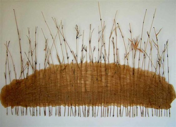 'Standing Reeds' / bamboo offcuts and banana trunk pulp paint on canvas -by Lesa Hepburn: