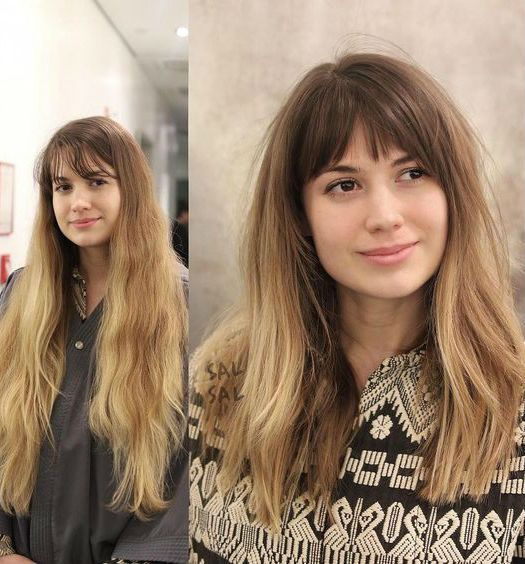 Transform Your Long Hair To Outstanding Full Fringe Ombre Hairstyles 2019 Haircuts With Bangs Medium Long Hair Long Hair Styles