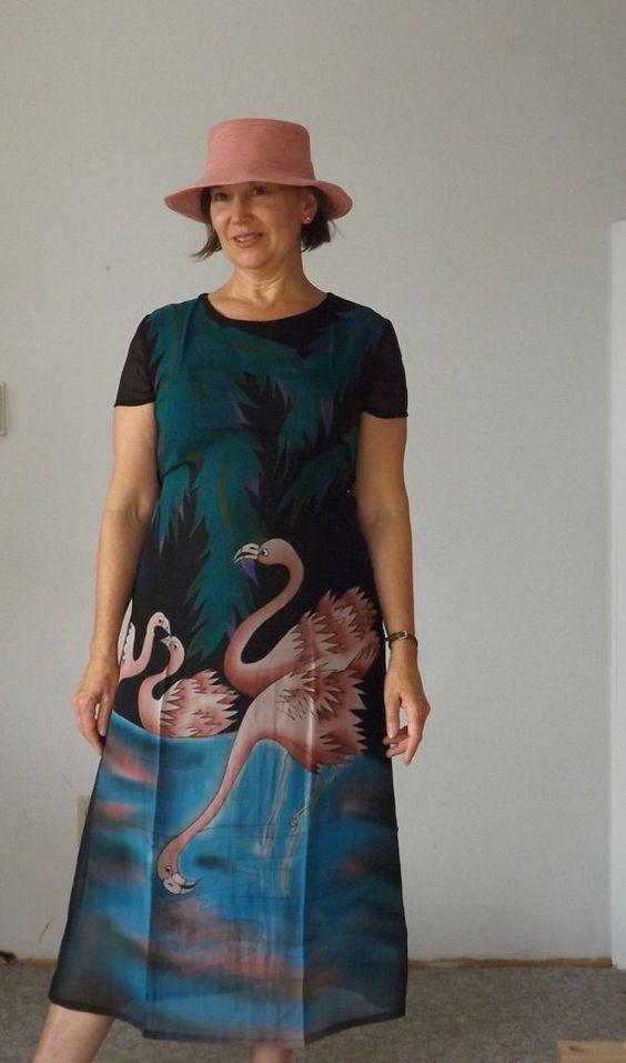 (vu) Vintage Silk Dress Handpainted Dress 1990's by DancingColorSilks