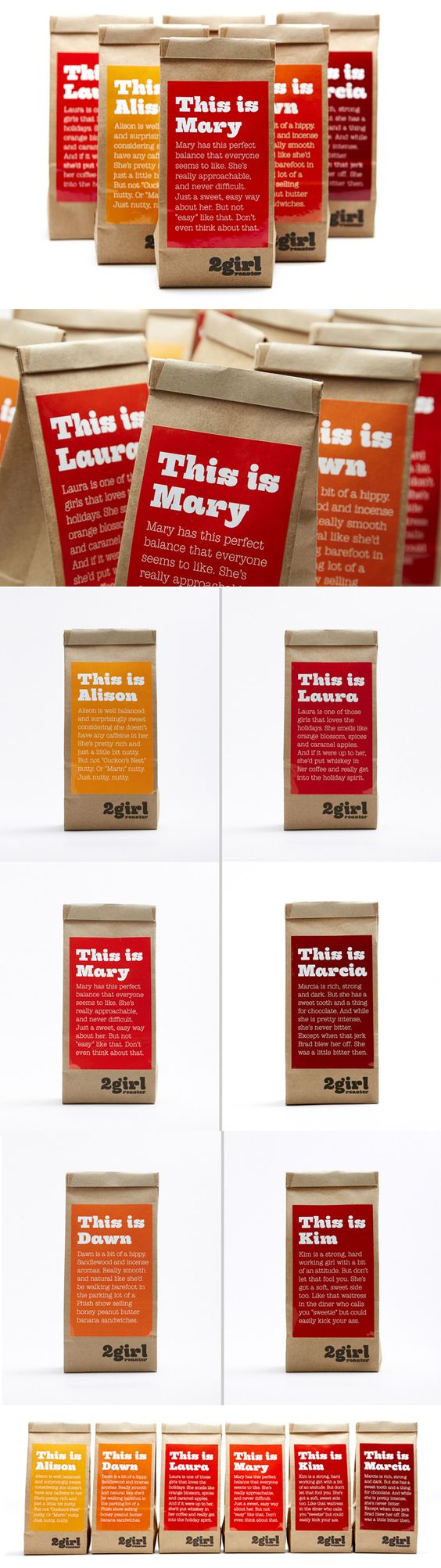 Packaging for 2 Girl Roaster by Division Of Labor. Cute PD