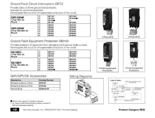 Siemens Pole 240 Volt Type Ground Fault Circuit Interrupter Circuit Siemens Electrical Shop