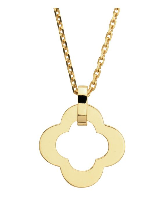 Van Cleef & Arpels 18k Yellow Gold Byzantine Alhambra Pendant Necklace. 18k Yellow Gold Necklace with a 18k Yellow Gold Motif Pendant.