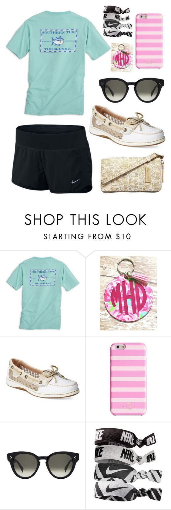 """""""Preppy"""" by becker17 ❤ liked on Polyvore featuring Southern Tide, Sperry, Kate Spade, CÉLINE, NIKE and Lilly Pulitzer"""