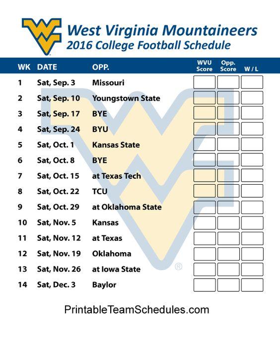 2016 West Virginia Mountaineers  Football Schedule