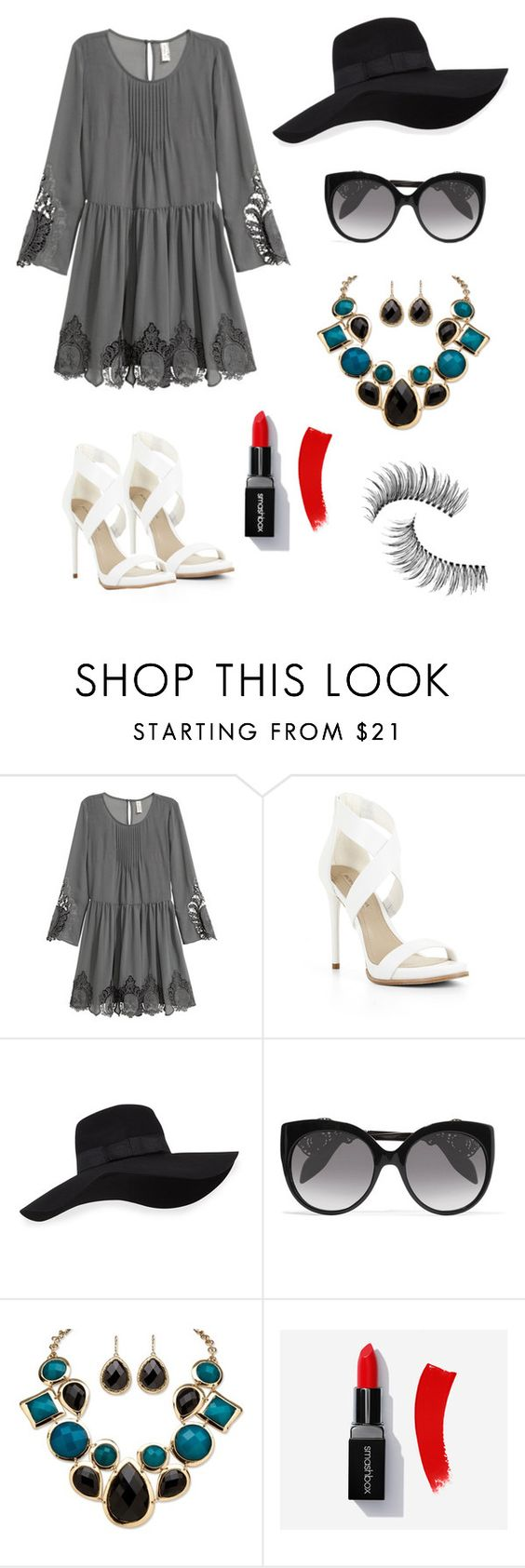 """""""Sem título #2441"""" by mariana-mester-vianna ❤ liked on Polyvore featuring H&M, BCBGMAXAZRIA, San Diego Hat Co., Alexander McQueen, Palm Beach Jewelry and Trish McEvoy"""