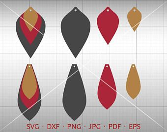 Teardrop Vector DXF Thin Diamond Earring SVG Leather Earring Jewelry Laser Cut Template Commercial Use Long Pendant svg Tear Drop SVG