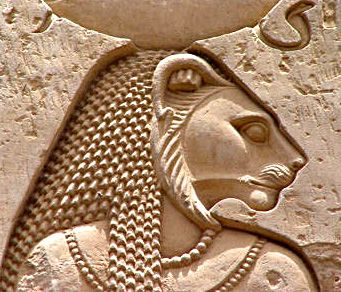 In Egyptian mythology, Sekhmet was originally the warrior goddess as well as goddess of healing for Upper Egypt. She is depicted as a lioness, the fiercest hunter known to the Egyptians. It was said that her breath created the desert. She was seen as the protector of the pharaohs and led them in warfare. Sekhmet also is a solar deity, sometimes called the daughter of the sun god Ra and often associated with the goddesses Hathor and Bast