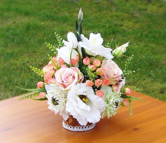 Table Centerpiece Floral Arrangement Silk Flowers by AlookFlowers