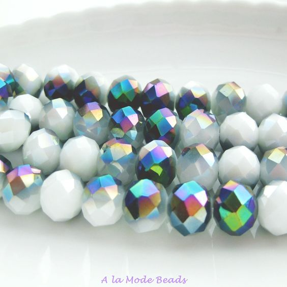 8X10MM Metallic Green Opaque White Crystal Rondelles (25) Celestial Green and White Crystals by AlaModeBeads on Etsy