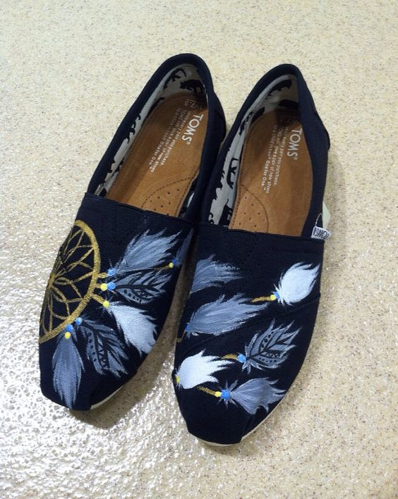 Hand Painted TOMS Shoes Dream Catcher (any color combo) on Etsy, $75.00