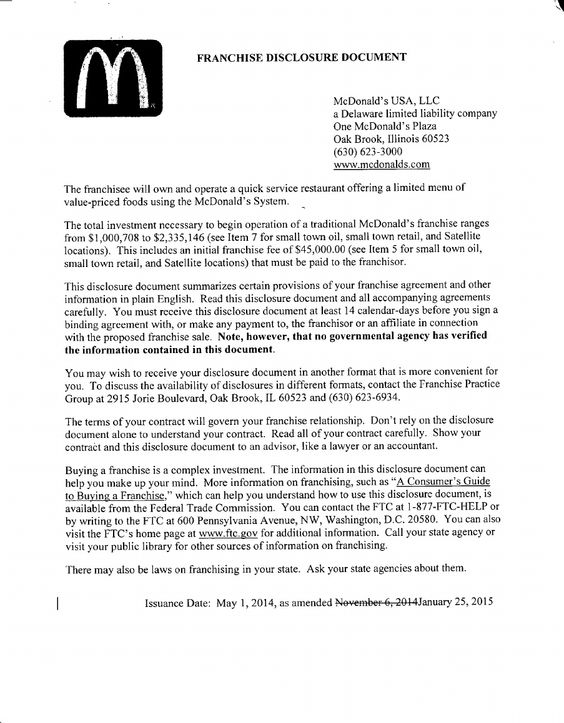 Mcdonaldu0027s FDD (2015) Franchise Disclosure Document Pinterest - non disclosure agreements