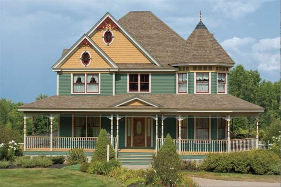 Paint color ideas for ornate victorian houses queen anne for Victorian house trim