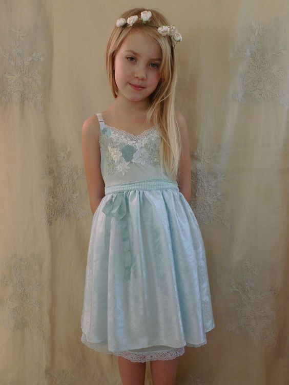 RESERVED Opal Little Girl Slip Dress... Size 6/7... whimsical ...