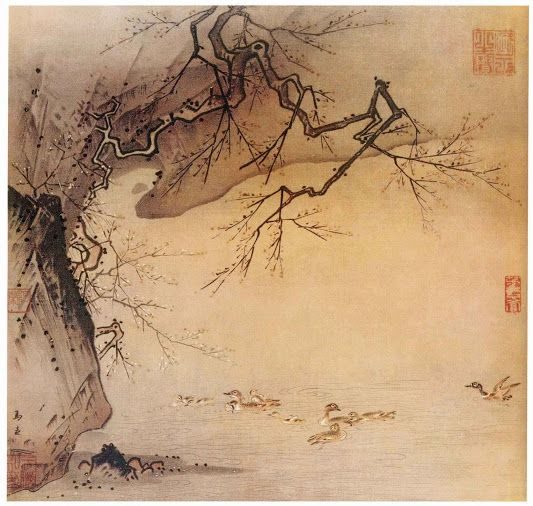 Semi-blossom winter plum: colour ink painting by Emperor Huizong of Song Dynasty (1082-1135)