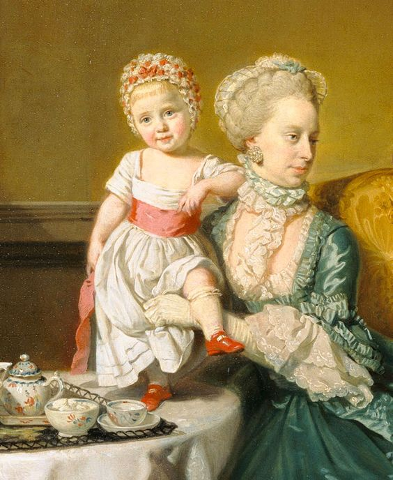 John, 14th Lord Willoughby de Broke, and his Family - Johann Zoffany. Detail.: