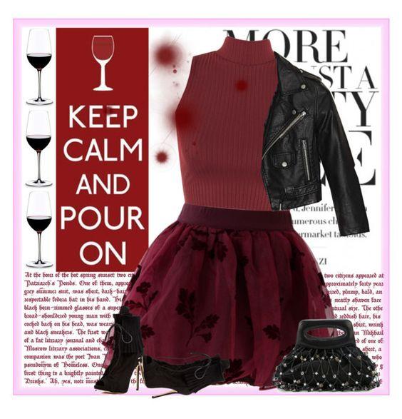 """wine skirt"" by bodangela ❤ liked on Polyvore featuring moda, WearAll, Chicwish, Nasty Gal, Giuseppe Zanotti, Chanel y Riedel"