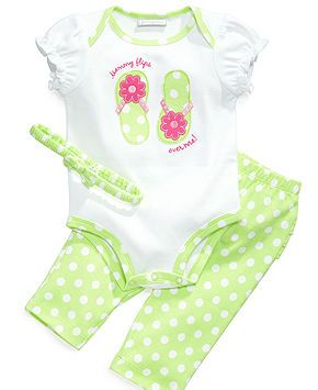 First Impressions Baby Set, Baby Girls Three-Piece Flip-Flop Bodysuit, Headband and Leggings - Kids Baby Girl (0-24 months) - Macy's